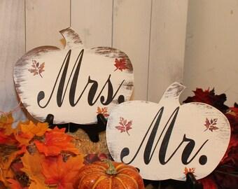 MR & MRS Wedding Chair Signs/Pumpkin shape/Fall Autumn Leaves/Photo Prop/U Choose Colors/Great Shower Gift/Rustic/Vineyard/Woodland