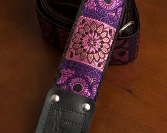 Pink/Black Floral Guitar Strap