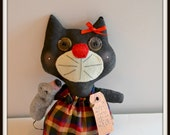 Black Cat primitive holding a mouse, Kitty Cat and Mouse, made in USA