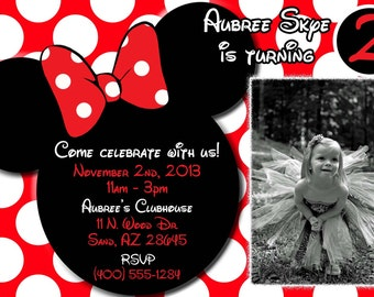 Minnie Mouse Invitations, Minnie Mouse Birthday, Red Minnie Mouse invitations, Minnie Mouse party, OR Minnie Mouse Thank you card