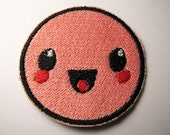 Kawaii Happy Face Iron-On Patch - Cute Smiley Face Patch - Geek Happy Pink Patch - Pink Smiley Face Patch - Geekery
