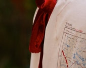 RESERVED!!! Custom made genuine vintage military map top with burgundy velvet and satin bias binding accents