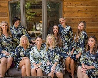 Set of 9, Bridesmaid robes, kimono crossover, bridesmaids gift, handmade, floral, bridal shower, wedding.