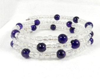 Purple and Clear, Seed Beads, Royal Purple, Bead Bracelet, Perfect Gift, Febrary Brithday, Stocking Stuffer, Chrismas Present