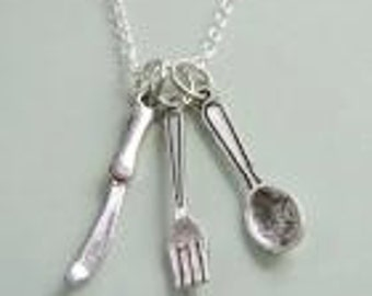 Little Spoon Fork And Knife Cutlery Necklace
