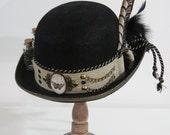 Black Antique Brass Derby Bowler Top Hat, Steampunk Kentucky Riding Victorian Hat, Halloween, Men Women Hat, accessories READY TO SHIP