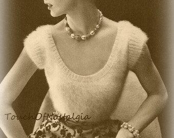 ANGORA Evening BLOUSE Knitting Pattern - Elegant Angora EVENING Blouse - Plunge Round Neck / Evening Glamour - Stunning
