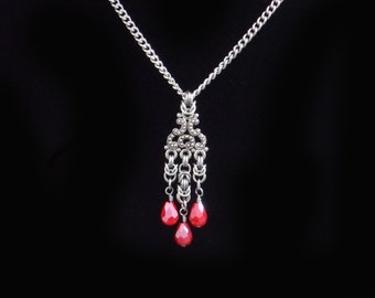 Red chainmaille cascading pendant