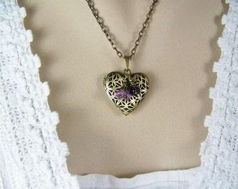 Heart Locket,  Antique Gold Filigreed Locket, Lavender Flowers, Keepsake Locket, Wish Locket, Prayer Locket, Czech Flowers