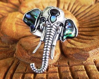 Sacred elephant abalone shell Ganesh ring