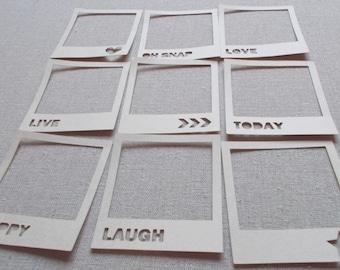 Scrapbooking Polaroid Frame Die Cuts & Smash book add-ons - set of 9 scrapbook embellishments