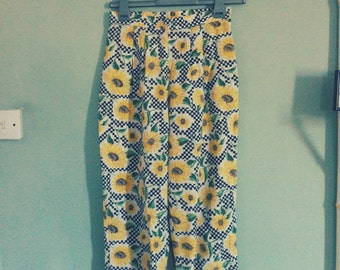 1980's 1990's High Waist Straight Sunflower Checkered Print Trousers Pants Grunge