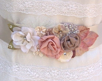 Bridal Sash, Wedding Sash in Champagne, Ivory, Tan And Blush With Lace, Crystals, Pearls And Tulle, Bridal Belt, Flower Sash