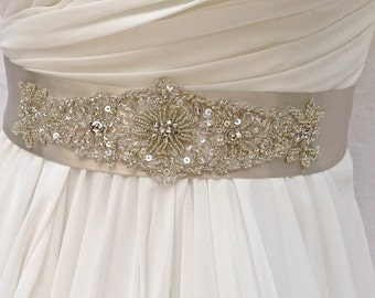 Beaded Bridal Sash-Wedding Sash In Platinum, Beaded Sash, Wedding Dress Sash, Bridal Belt, COLOR CHOICES
