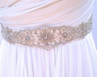 Beaded Bridal Sash-Wedding Sash In Ivory, Beaded Sash, Wedding Dress Sash, Bridal Belt, Crystals, Color Choices