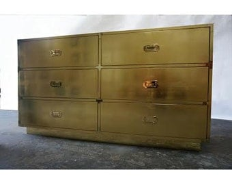 BUILT TO ORDER // Custom Made Gold or Silver Leaf Campaign Dressers