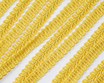 "3/8"" Yellow Braided French Gimp Trim Ribbon Scrapbooking Wedding Decor 25 Yards"
