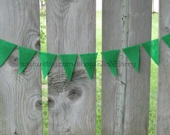 8 Feet -  Apple Green Triangle Felt Garland/Bunting