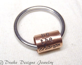 be the change keychain Keychain motivational Gift for Graduation
