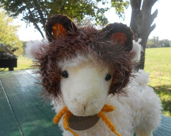 Crocheted Lion Hat for Cat or Dog, Lion Mane Hat for Pet, Lion Halloween Costume