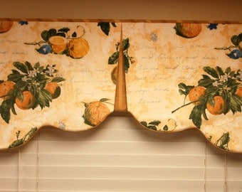 "Custom Window Treatment, RENEE Hidden Rod Pocket Valance fits 41""- 58"" window,Scalloped valance made with your fabrics, my LABOR and lining"