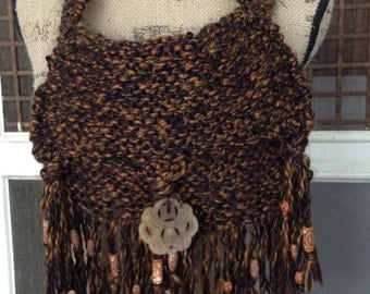 Womens or Girls knit hobo purse, fringe with wooden beads, jade accent bead on flap, exotic animal lining