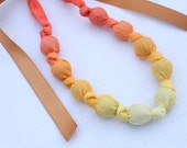 Fabric Statement Necklace, Chomping, Nursing, Teething Necklace - Yellow Orange Ombre