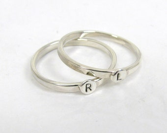 2 Sterling Silver Letter Rings,  1.75mm Stacking Rings,  Initial Rings, Personalized Silver Rings,  Mom Rings, Silver letter rings