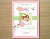 Pink Ladybug Birthday Invitation - Digital File (Printing Services Available)