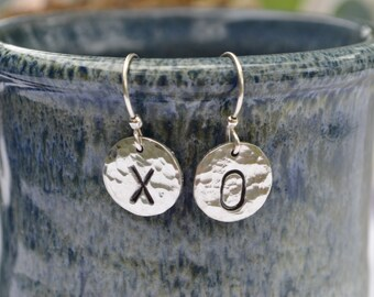 "Sterling Silver ""XO"" Earrings Reclaimed Silver Eco Friendly Jewelry Handmade Sterling French Earwires Hugs and Kisses Lover's Earrings"