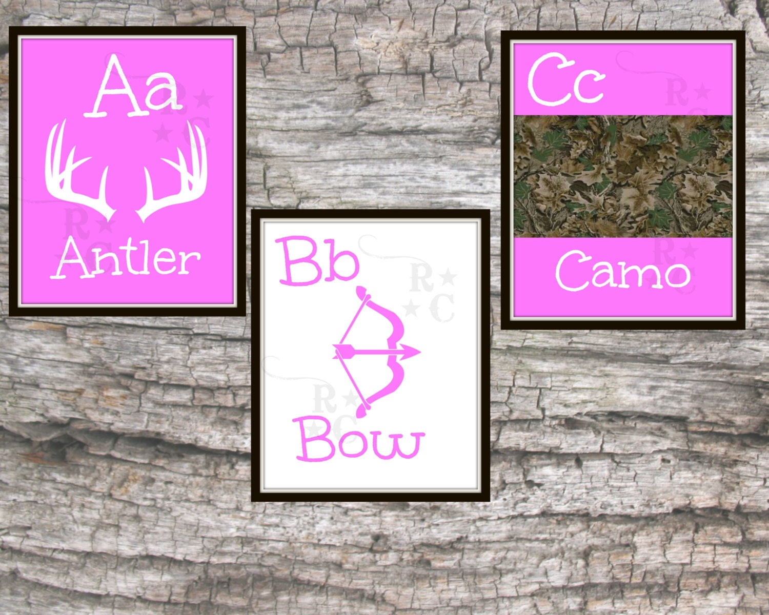 Pink Camo Bedroom Decor Girls Camo Hunting Room Nursery Prints Alphabet Abc Prints