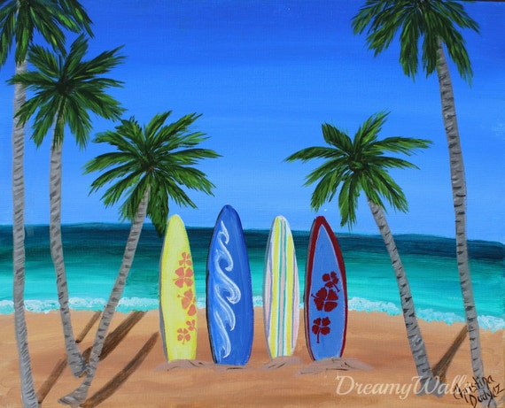 Items similar to surf decor palm tree art surfboard for Painting palm trees