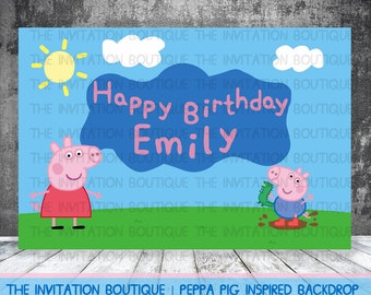 Peppa Pig Inspired printable Party Backdrop  DIGITAL FILE
