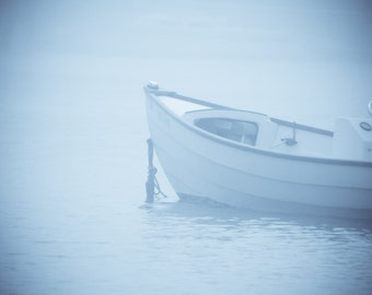 Ocean Photography- Peaks Island, Maine Foggy Day Boat Photograph 5x7 Print to fit 8x10 frame.