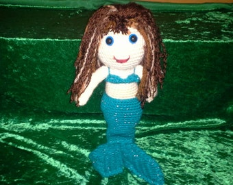 Crocheted Mermaid with Teal Tail