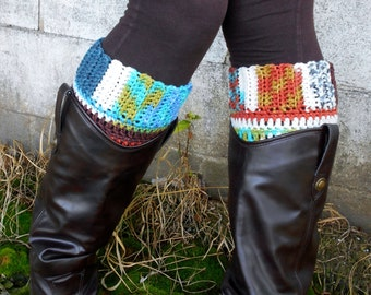 Multicolored Boot Cuff - Crocheted Multicolored Boot Sock - Choose Your Color Boot Socks - Extended Sizes Boot Cuffs - Colorful Boot Cuffs
