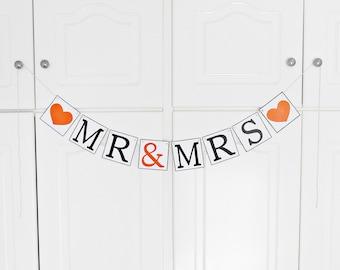 FREE SHIPPING, Mr & Mrs banner, Wedding Banner, Bachelorette party, Engagement decoration, Reception sign decoration, Photo prop, Orange