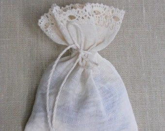Baptism favor bags shabby chic linen and lace washed wrinkled ivory wedding gift bags set of 10 antique look in vintage style