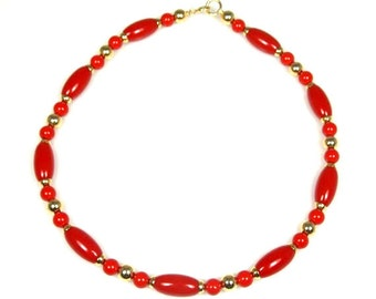 Red Lucite Bead Necklace