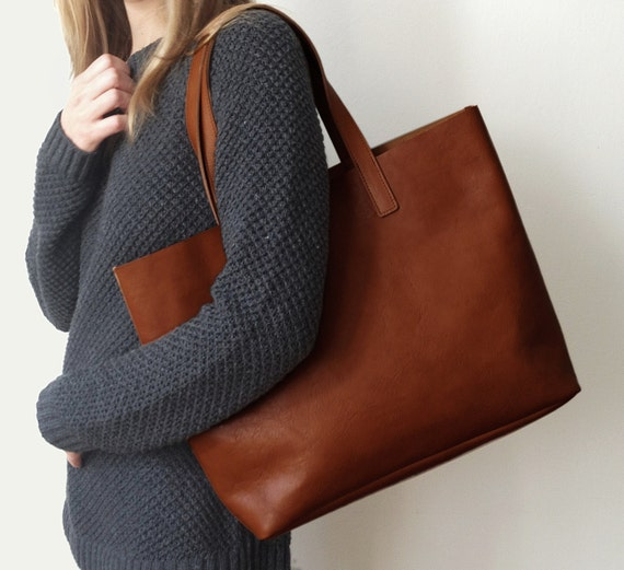 MIVO Brown Leather Tote Brown Leather Bag Shopping tote