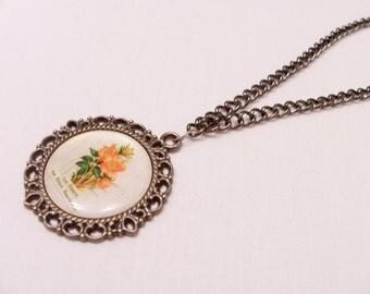 Vintage style flower pendant necklace - metal flower jewelry - vintage style pendant - metal flower necklace - round pendant
