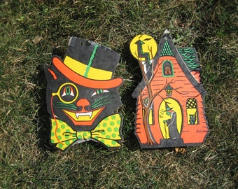 Vintage Halloween Decorations Cat and Haunted House Beistle