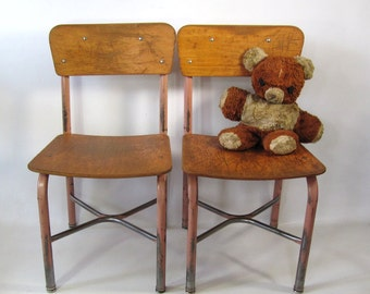 """Vintage School Wood and Metal Chair Size 14"""" Set of Two"""