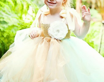 Mint, Gold with shades of cream, gorgeous Flower girl dress can be custom to  more colors