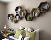 Geometric Wood Shelves - Honeycomb Shelves - Floating Shelves - Book Shelves - Modern Shelves - Modern Decor - Shelves - Shelving - Set of 3