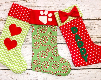 Christmas stocking pattern PDF, Christmas pattern, 4 sizes and applique templates included, small medium large stocking pattern, STOCKING