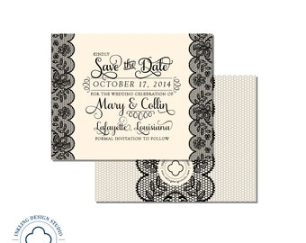 Lace Save the Date  |  Lace Bridal Shower Invitation  |  Lace, Script, 5.5x4.25in, A2