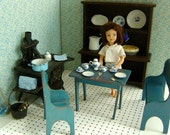 Rustic vintage farmhouse kitchen with iron stove antique wooden playscale furniture for Blythe BetsyGinny Riley Kish Sindy Toni etc