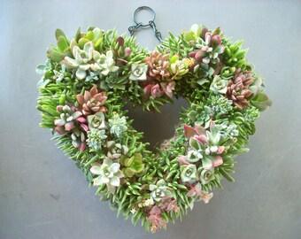 Succulent Heart Wreath 13 inch diameter