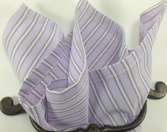 Cotton pocket square Lavender stripe